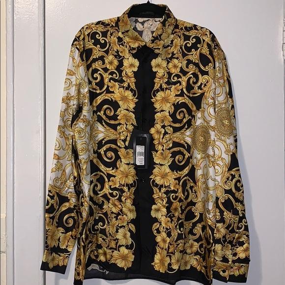 Versace Other - Versace Gold Hibiscus Print Long Sleeve Shirt
